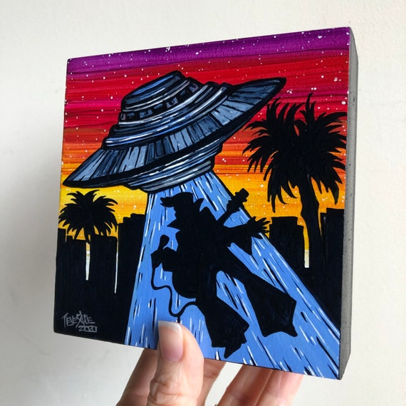 "5x5"" Viva Las Vegas Elvis UFO Alien Abduction Flying Saucer original acrylic painting by Tracy Levesque"