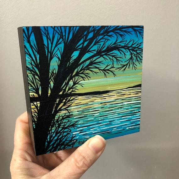"4x4"" Aqua Sunset Tree original acrylic painting by Tracy Levesque"