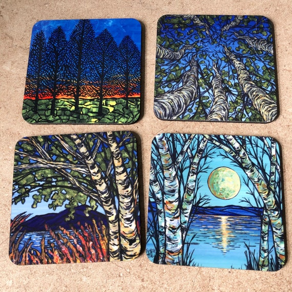 Trees for All Seasons - Coaster Set of 4 featuring artwork by Tracy Levesque