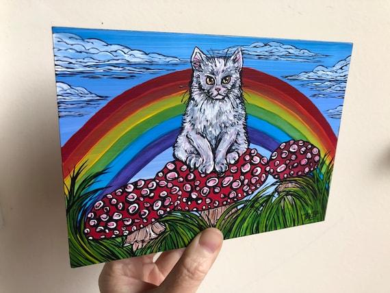 "5x7"" Grumpy Rainbow White Cat sitting on Mushrooms original acrylic painting by Tracy Levesque"