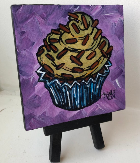 """Chocolate sprinkles cupcake 4x4""""mini acrylic painting on easel by Tracy Levesque"""