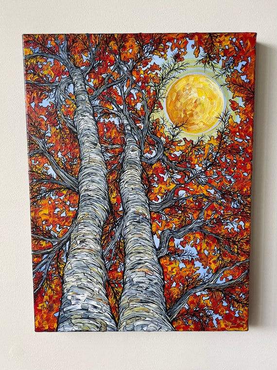 """18x24"""" Sunny Day Paper Birch Trees New England Fall Foliage Trees original acrylic painting by Tracy Levesque"""