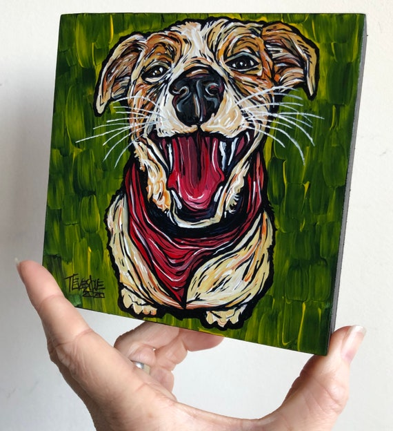 "5x5"" Happy Jack Russell Terrier original acrylic painting by Tracy Levesque"