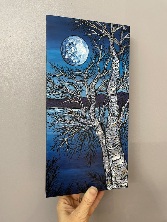 """6x12"""" Landscape of Blue Full Moon Night Birch painting by Tracy Levesque"""
