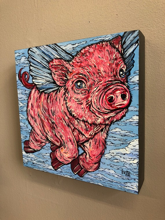 Pigasus, original acrylic painting on wood by Tracy Levesque