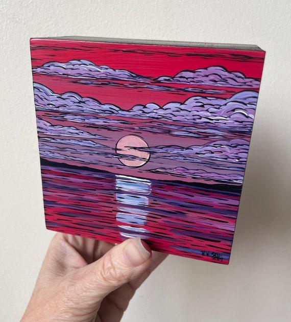"4x4"" Hazy Moon Twilight original acrylic painting by Tracy Levesque"