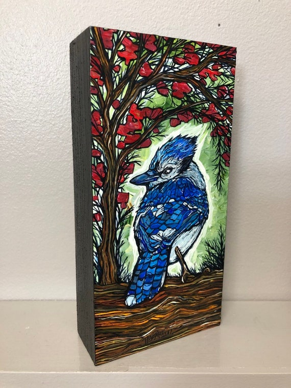 """Bluebird on Green 4x8"""" Original acrylic painting by Tracy Levesque"""