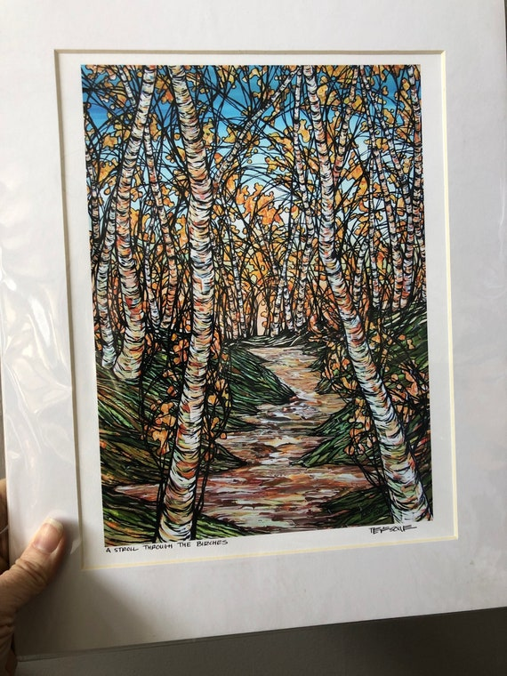 "11x14"" Matted Print of A Stroll through the Birches by Tracy Levesque (print size is approximately 8x10"" inside 11x14"" mat)"