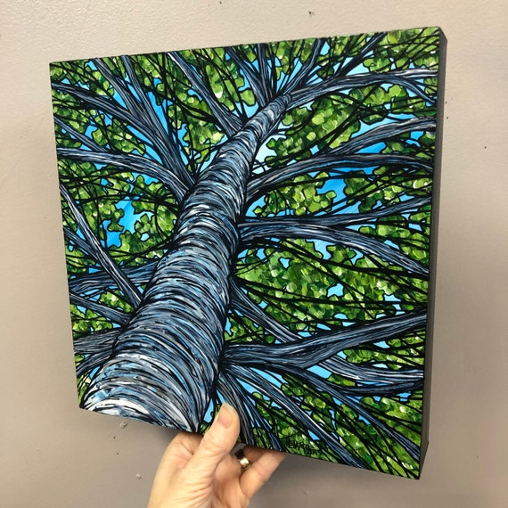 """10x10"""" Audubon Birch Tree Looking Up the Tree original acrylic painting by Tracy Levesque"""