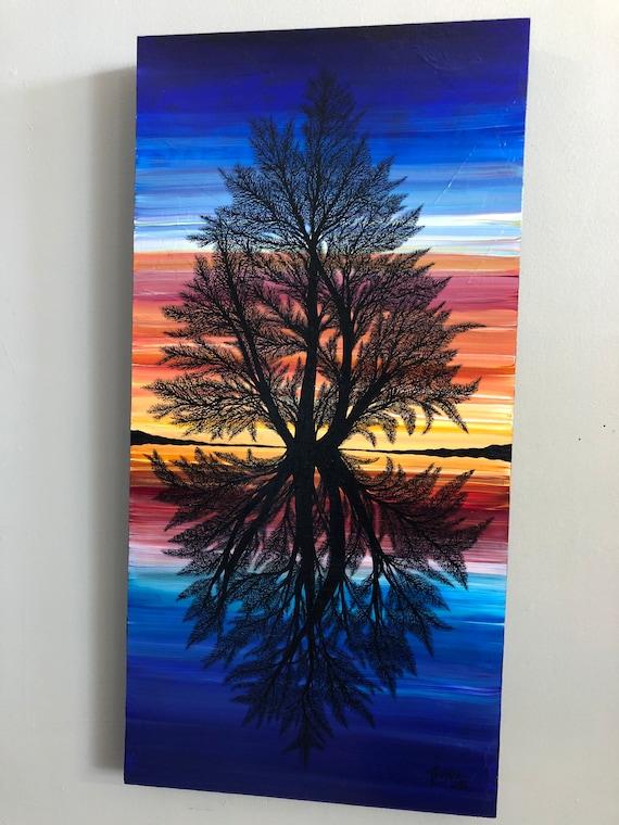 "15x30"" Mandala Tree of Life Breathtaking original acrylic painting by Tracy Levesque"