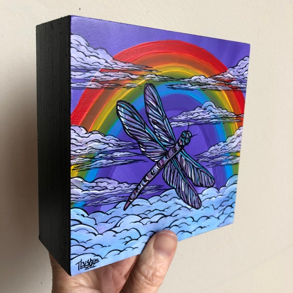 "5x5"" Purple Dragonfly Rainbow Clouds original acrylic painting by Tracy Levesque"