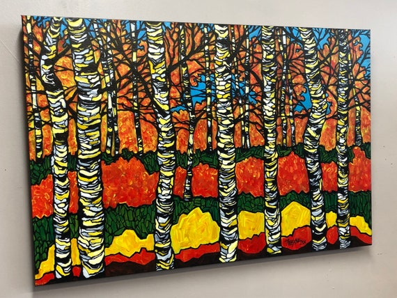 """24x36"""" Chromatic Birches Colorful Trees original acrylic painting by Tracy Levesque"""
