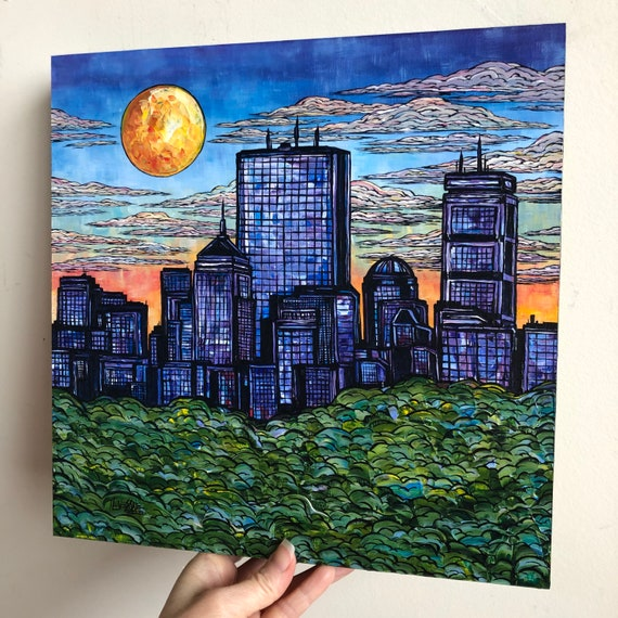 "12x12"" Original acrylic painting A Sunny Day in Boston - Boston Skyline Cityscape by Tracy Levesque"