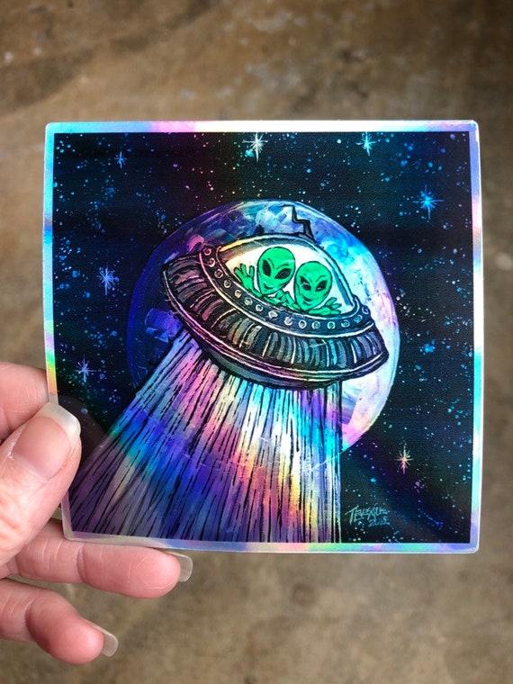 """4x4"""" Alien Little Green Men in UFO Sticker by Tracy Levesque"""