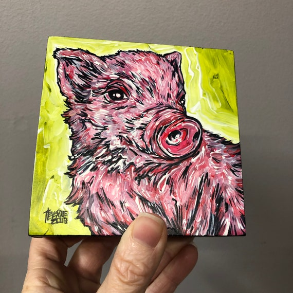 """4x4"""" Happy Piglet original acrylic painting by Tracy Levesque"""