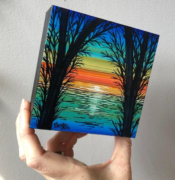 "Orange Sunset JB35 4x4"" original acrylic painting by Tracy Levesque"