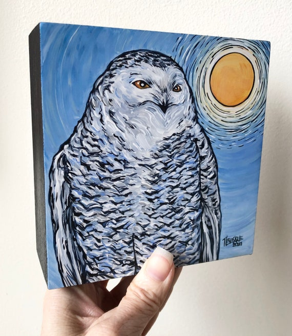 "5x5"" Majestic Snowy Owl of Winter original acrylic painting by Tracy Levesque"