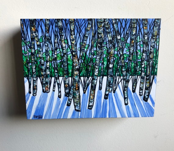 """6x8"""" Birch Shadows Light Shining Through the Winter Trees original acrylic painting by Tracy Levesque"""