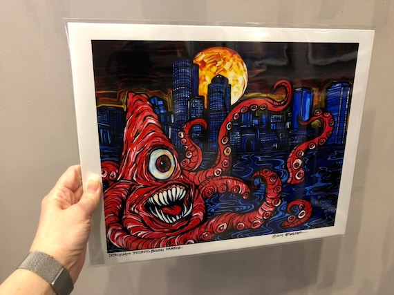 """Octocyclops Destroys Boston Harbor! Limited edition metallic photographic print 8x10"""" or 11x14"""" by Tracy Levesque"""