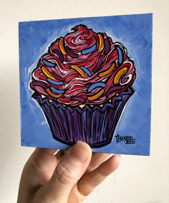 "4x4"" Fun and Colorful Confetti Cupcake Whimsical original painting by Tracy Levesque"