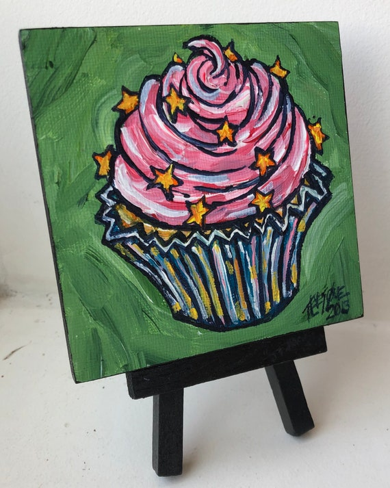 """Pink Cupcake with Star Sprinkles 4x4"""" mini acrylic painting on easel by Tracy Levesque"""