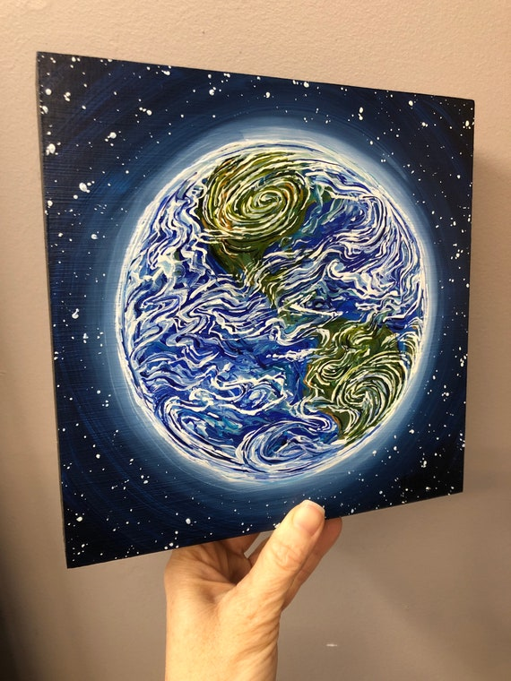 """Home Sweet Home Earth 8x8"""" original acrylic painting by Tracy Levesque"""