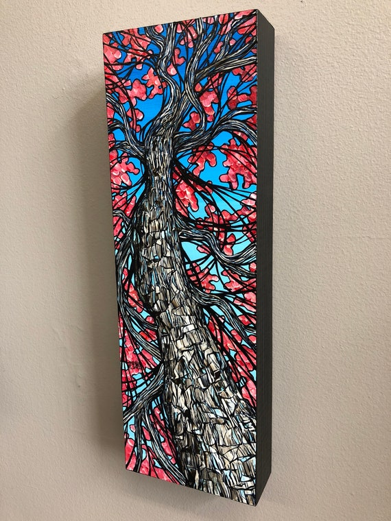 Pink Blossom Long Tree, original acrylic painting on wood by Tracy Levesque