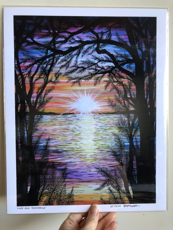 "11x14"" Giclee print Hope for Tomorrow sunset sunrise tree print by Tracy Levesque"