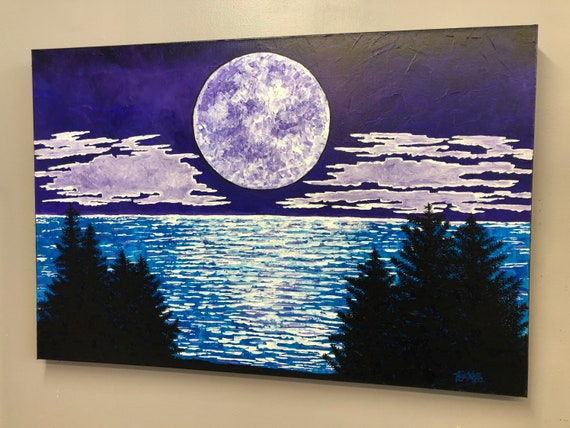 """24x36"""" Moon Lake original acrylic painting by Tracy Levesque"""