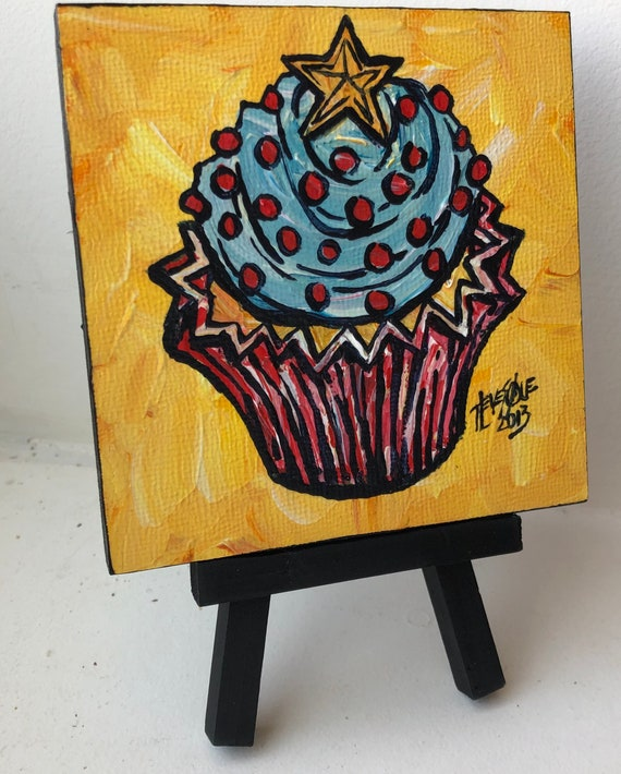 """Star Cupcake 4x4"""" mini acrylic painting on easel by Tracy Levesque"""