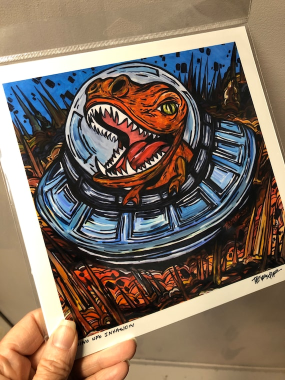 """8x8"""" Print of Dinosaur UFO Invasion by Tracy Levesque"""