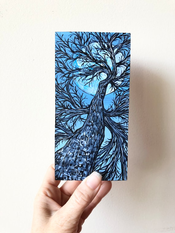 """3x6"""" Blue Moon Full Moon Looking Up the Tree original acrylic painting by Tracy Levesque"""