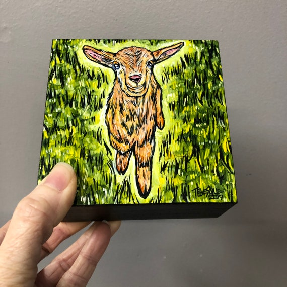 """4x4"""" Goat on the Green original acrylic painting by Tracy Levesque"""
