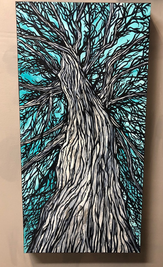 "15x30"" Winter Willow Perspective original acrylic painting by Tracy Levesque"