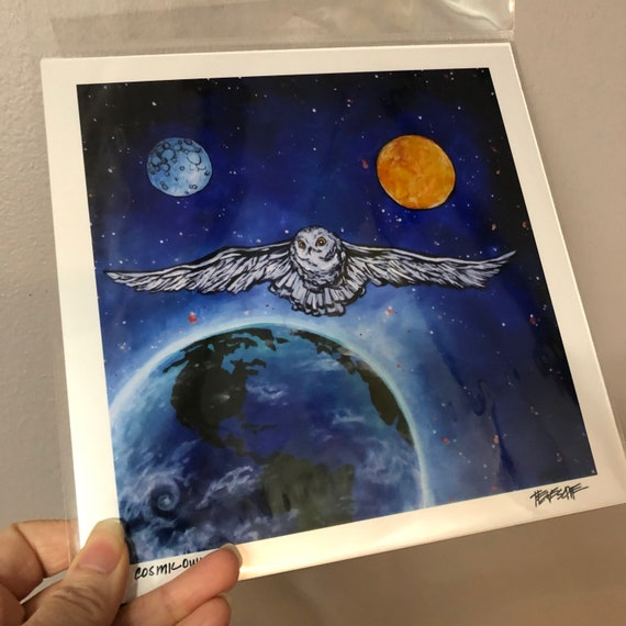 """8x8"""" Snow Owl in Space metallic photographic print featuring artwork by Tracy Levesque"""