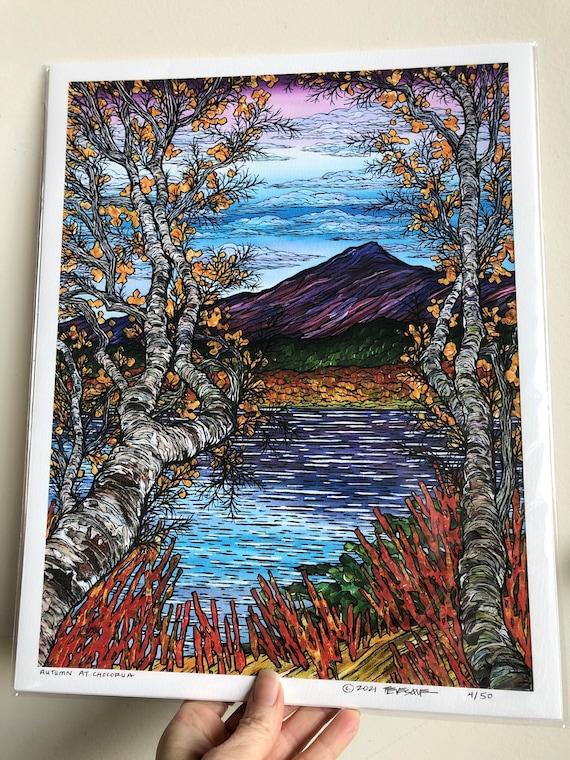 "11x14"" Giclee print of Autumn at Mount Chocorua / Lake Chocorua White Mountains New Hampshire by Tracy Levesque"