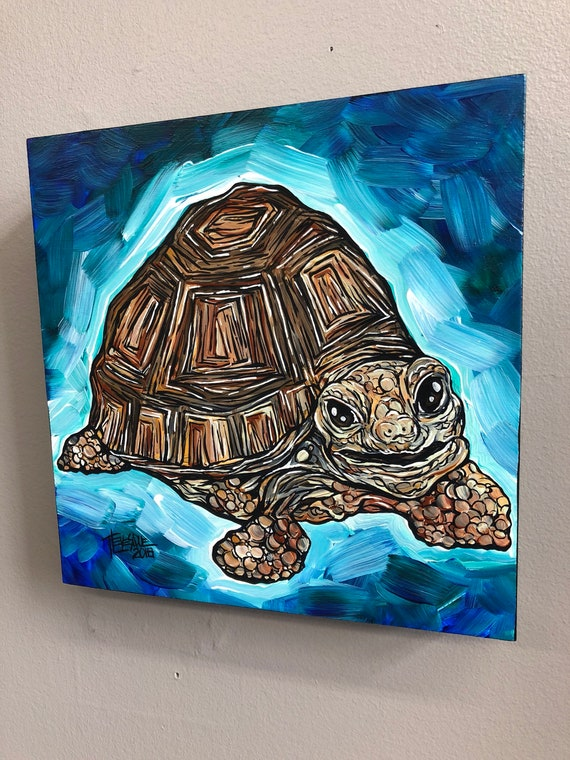 Happy Turtle, original acrylic painting on wood panel by Tracy Levesque