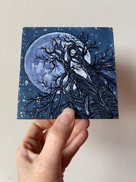 """4x4"""" Moonlighting Trees Full Moon Tree Painting by Tracy Levesque"""