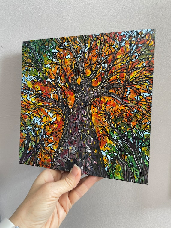 """8x8"""" New England Fall Foliage Trees Looking up the fall trees painting by Tracy Levesque"""