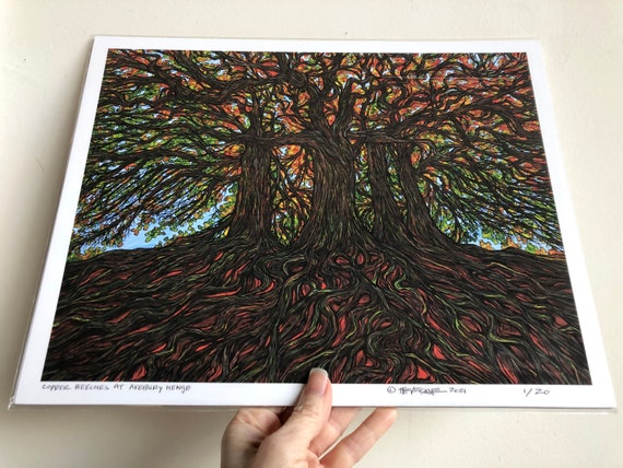 """11x14"""" Giclee print of Ancient Copper Beech Trees at Avebury Henge by Tracy Levesque"""