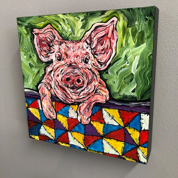 """8x8"""" Pig in a Blanket original acrylic painting by Tracy Levesque"""