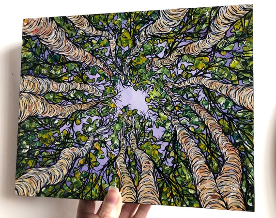 "8x10"" Surrounded by Spring Looking Up the Trees Birch Tree original acrylic painting by Tracy Levesque"