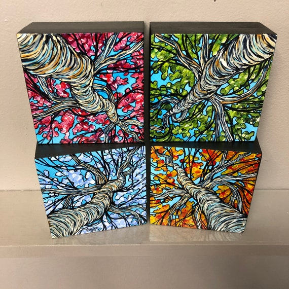 """The 4 Seasons of Trees Square Mini Painting Collection by Tracy Levesque (includes 4 4x4"""" original acrylic paintings)"""