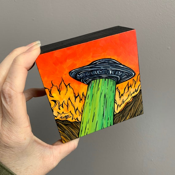 """4x4"""" Flaming UFO Invasion original acrylic painting by Tracy Levesque"""