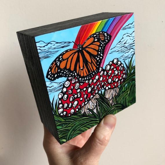 "4x4"" Magic Mushroom Monarch with Rainbow original acrylic painting by Tracy Levesque"