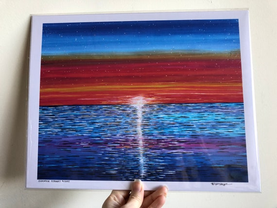 "11x14"" Giclee print Summer Starry Nighy Sunset Ocean print by Tracy Levesque"