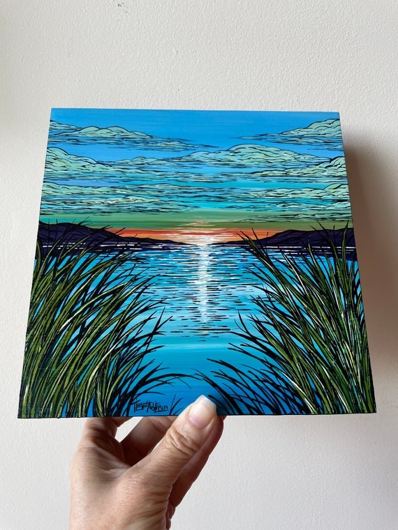 """8x8"""" Heavenly View Waterview Cove original acrylic painting by Tracy Levesque"""