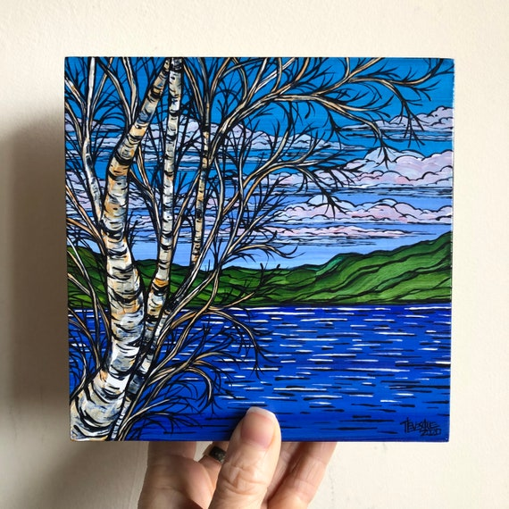"6x6"" Clear Blue Sky Mountain Birches original painting by Tracy Levesque"
