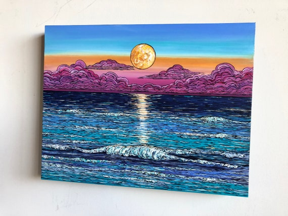 """14x18"""" Mystic Morning Sunrise Moonset original seascape painting of the ocean by  Tracy Levesque"""