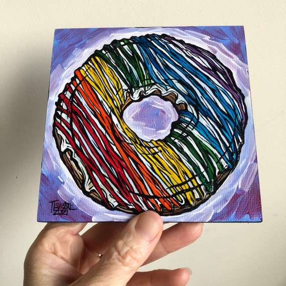 """5x5"""" Rainbow Donut on Violet original acrylic painting by Tracy Levesque"""